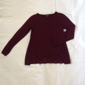 The Limited Burgandy Sweater Lace Bottom Size S